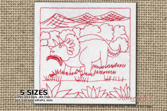 Triceratops Eating Grass Redwork Reptiles Embroidery Design By Redwork101