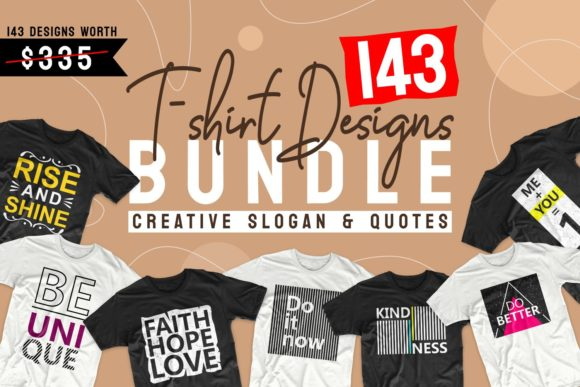 Print on Demand: T-shirt Designs Bundle Slogan Quotes Graphic Print Templates By Universtock