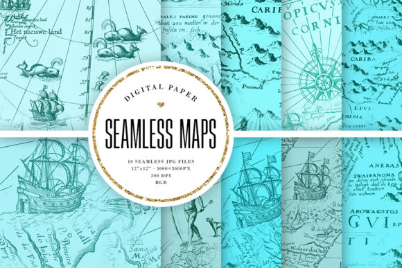 Print on Demand: Turquoise Seamless Maps Digital Paper Graphic Backgrounds By Sabina Leja