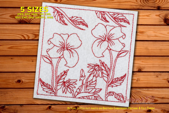 Two Beautiful Flowers Bluework Single Flowers & Plants Embroidery Design By Redwork101