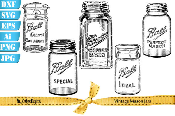 Print on Demand: Vintage Mason Jar Illustrations Graphic Illustrations By CatgoDigital