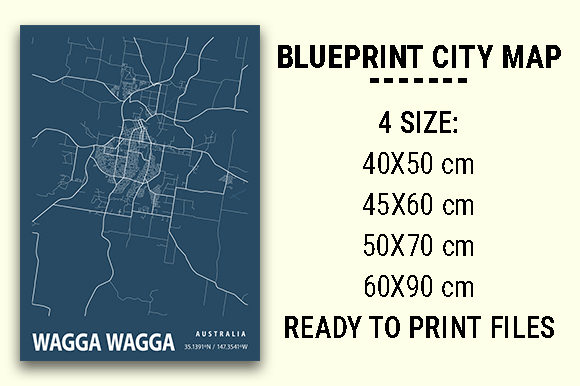 Print on Demand: Wagga Wagga Blueprint City Map Graphic Photos By tienstencil