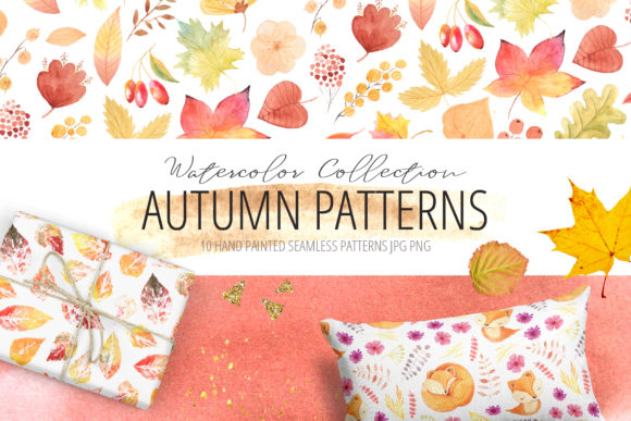 Watercolor Autumn Patterns Set Graphic Patterns By Larysa Zabrotskaya