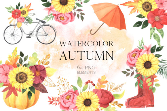 Watercolor Fall Floral Clipart Graphic