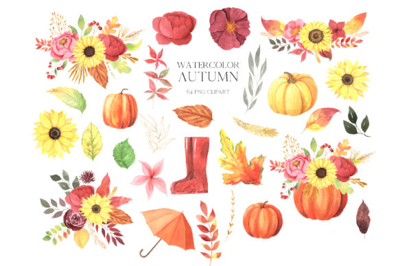 Watercolor Fall Floral Clipart Graphic Download