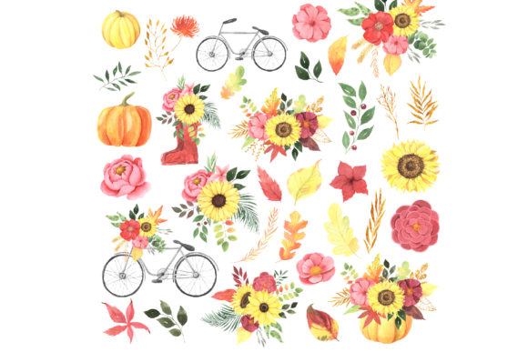 Watercolor Fall Floral Clipart Graphic Item