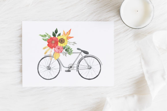 Watercolor Fall Floral Clipart Graphic Preview