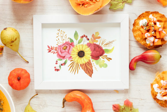 Watercolor Fall Floral Clipart Graphic Image