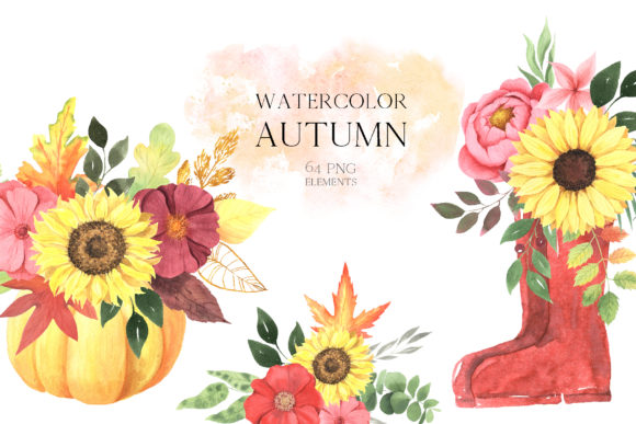 Watercolor Fall Floral Clipart Graphic Design Item