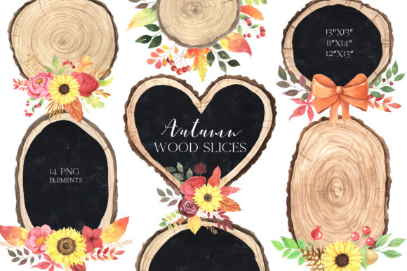 Watercolor Fall Wood Slices Clipart Graphic Illustrations By Larysa Zabrotskaya