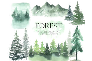 Watercolor Forest Tree Clipart Graphic Illustrations By Larysa Zabrotskaya
