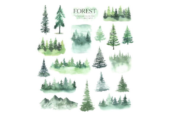 Watercolor Forest Tree Clipart Graphic Illustrations By Larysa Zabrotskaya - Image 2