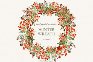 Print on Demand: Winter Wreath Clip Art Graphic Illustrations By MariaScaroniAtelier