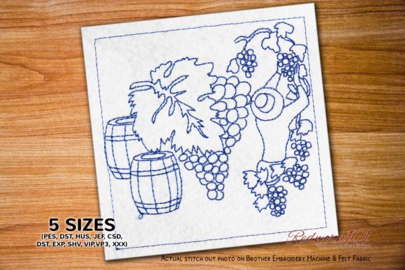 Woman Harvesting Grapes in a Vineyard Mother Embroidery Design By Redwork101