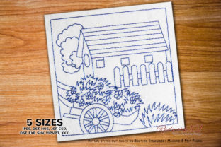 Wooden Cart with Flower Redwork Farm & Country Embroidery Design By Redwork101