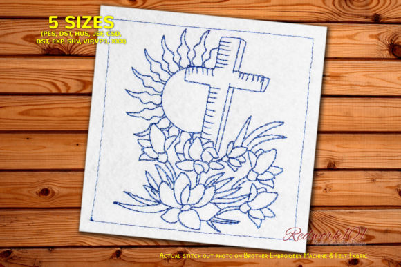Wooden Cross with Flowers Redwork Religion & Faith Embroidery Design By Redwork101