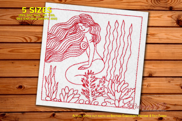 Young Mermaid Sitting at Seaside Fairy Tales Embroidery Design By Redwork101