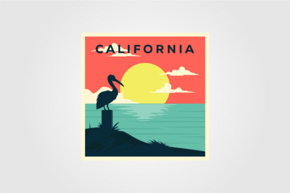 California Beach Vintage Poster Design Graphic Graphic Templates By lawoel