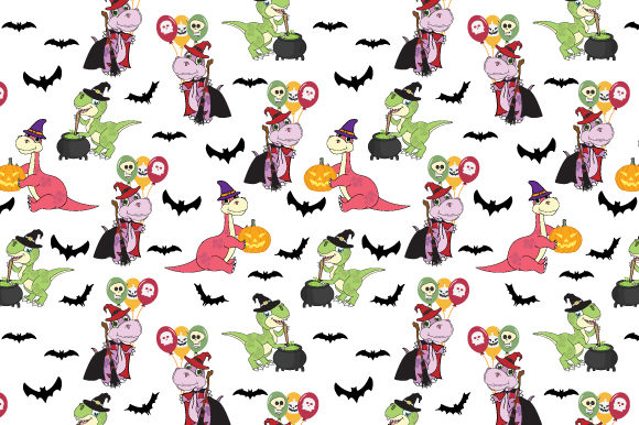 Print on Demand: Dinosaur on Halloween Party Pattern Graphic Patterns By curutdesign