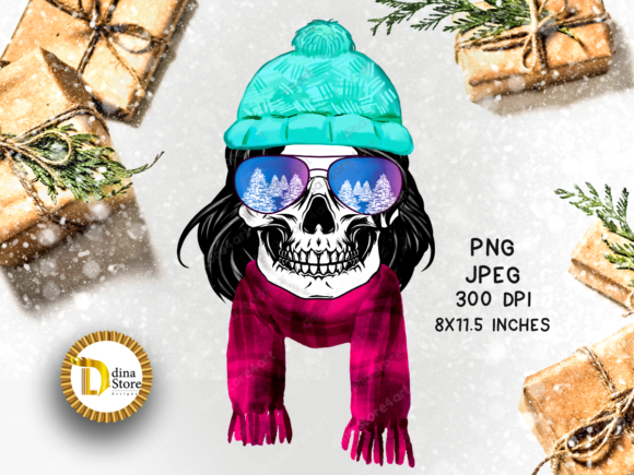Sublimation Christmas Newyear Skull Graphic Crafts By dina.store4art
