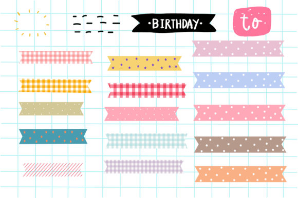 Print on Demand: Washi Tape Elements  Pastel Graphic Illustrations By Zweed n roll