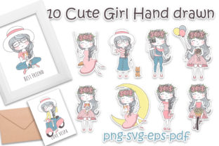 Print on Demand: 10 Cute Girl Hand Drawn Illustration Graphic Illustrations By OrchidArt