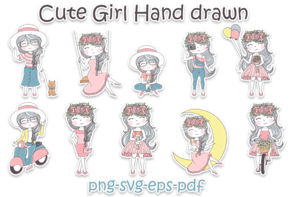 10 Cute Girl Hand Drawn Illustration Graphic Download