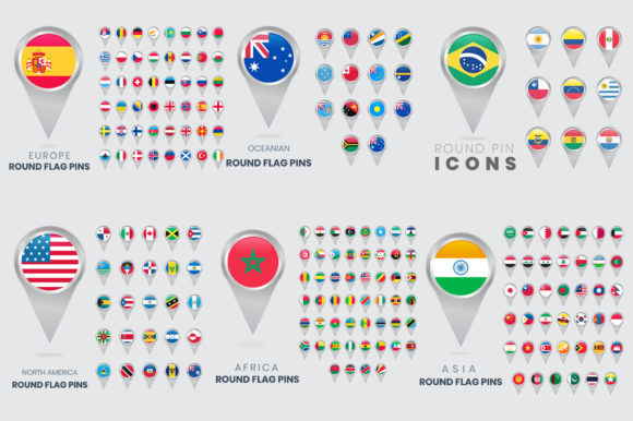 All World Round Flag Pins, Map Pointers Gráfico Iconos Por medelwardi