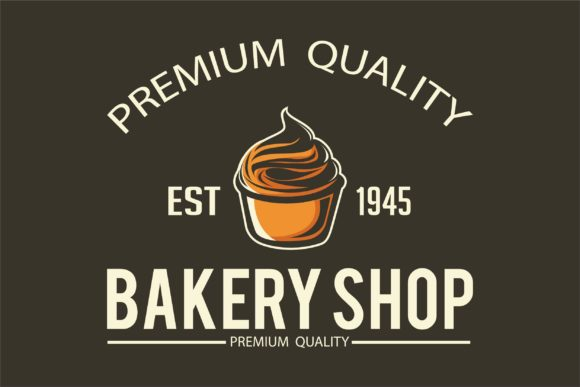Print on Demand: Bakery Logo on Black Background Graphic Logos By Saber Studio