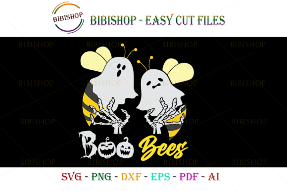 Boo-Bees-Halloween-Svg Graphic Illustrations By BiBi Shop