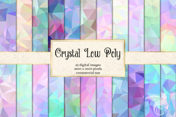 Print on Demand: Crystal Low Poly Digital Paper Grafik Hintegründe von Digital Curio