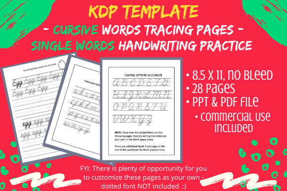 Print on Demand: Cursive Handwriting Words Practice Pages Graphic KDP Interiors By Tomboy Designs - Image 1