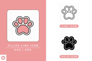 Print on Demand: Dog Paw Icons Set Graphic Icons By zenorman03