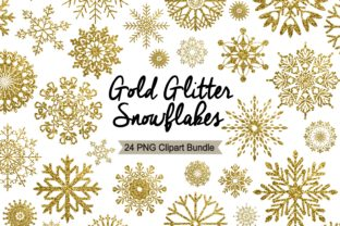 Gold Snowflake Clipart - Winter Holidays Graphic Illustrations By LeskaHamatyDesign