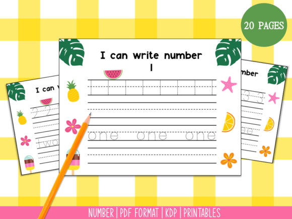 Handwriting Practice 1-20 (Summer) Graphic PreK By Miss Cherry Designs