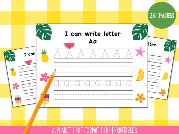 Handwriting Practice a-Z (Summer) Graphic PreK By Miss Cherry Designs