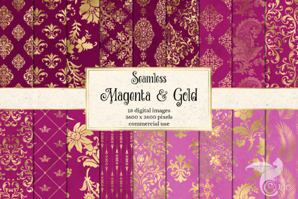 Print on Demand: Magenta and Gold Digital Paper Graphic Backgrounds By Digital Curio