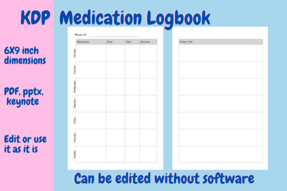 Print on Demand: Medication Logbook for KDP Graphic KDP Interiors By Income Plum