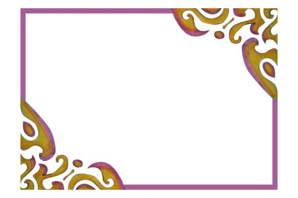 Print on Demand: Ornament Frame Border with Watercolor Graphic Crafts By Arief Sapta Adjie