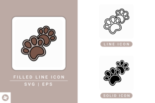 Print on Demand: Paw Icons Set Graphic Icons By zenorman03