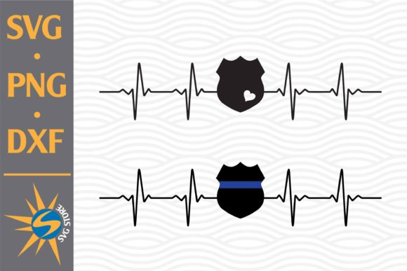 Print on Demand: Police Badge Heartbeat Graphic Crafts By SVGStoreShop