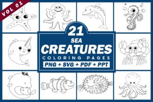 Print on Demand: Sea Creatures Coloring Pages PNG SVG PDF Graphic Coloring Pages & Books Kids By Fayne