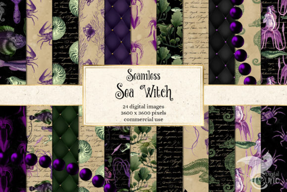 Print on Demand: Sea Witch Digital Paper Graphic Backgrounds By Digital Curio