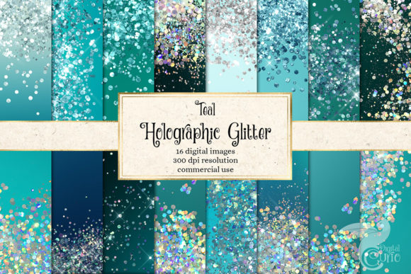 Teal Holographic Glitter Digital Paper Graphic