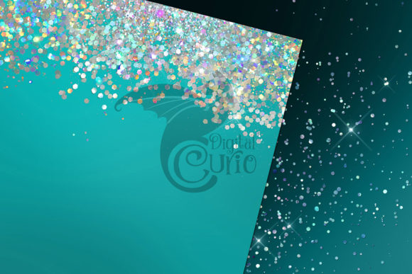 Teal Holographic Glitter Digital Paper Graphic Item