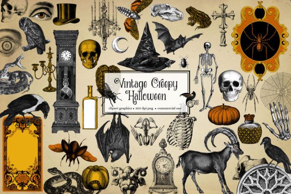 Print on Demand: Vintage Creepy Halloween Clipart Gráfico Ilustraciones Por Digital Curio