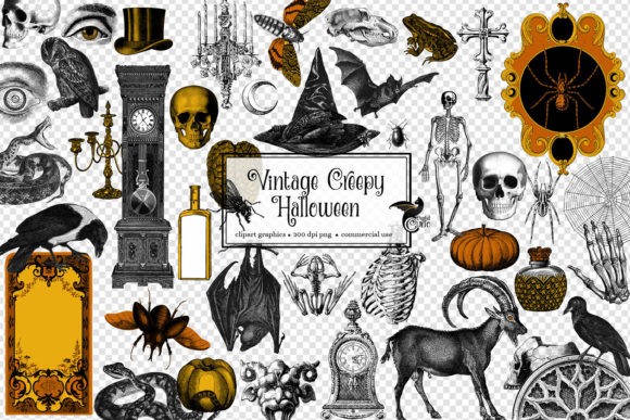 Print on Demand: Vintage Creepy Halloween Clipart Graphic Illustrations By Digital Curio - Image 2