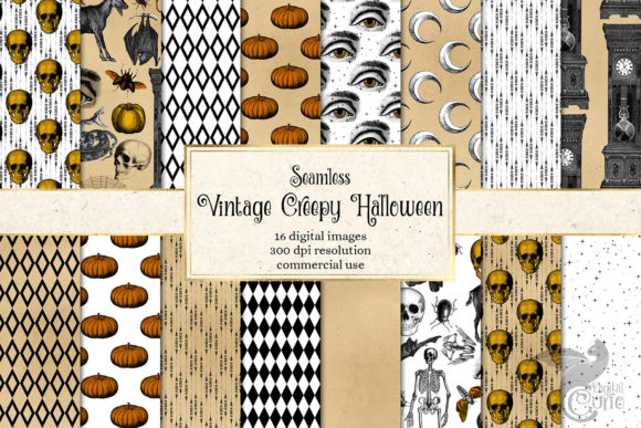 Print on Demand: Vintage Creepy Halloween Digital Paper Graphic Backgrounds By Digital Curio - Image 1