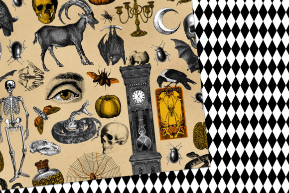 Print on Demand: Vintage Creepy Halloween Digital Paper Graphic Backgrounds By Digital Curio - Image 2
