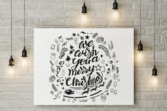 We Wish You a Merry Christmas Lettering Graphic Illustrations By baigern